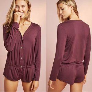 Eberjey Lila burgundy maroon long sleeve button front teddy sleep romper S